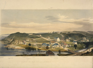 Wicksteed, Emma Ancilla 1811?-1869 :The town of New Plymouth, in the year 1843. (From a sketch taken by Mrs Wicksteed, from the residence of John Tylston Wicksteed, Esq.r, the Company's Agent, on Mount Eliot). [Left section] Mouth of the Uatoki River. Day & Haghe. London, Smith, Elder [1845]