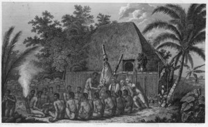Webber, John, 1751-1793 :An offering before Capt Cook in the Sandwich Islands. Drawn by J. Webber; the landscape eng. by Middiman; the figures by Hall. [Plate] 60. [London, 1784]
