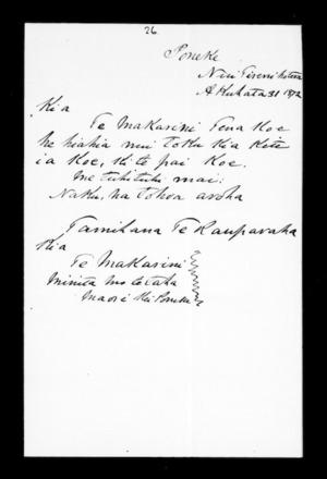 Letter from Tamihana Te Rauparaha to McLean