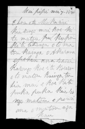 Letter from Te Wherowhero to McLean