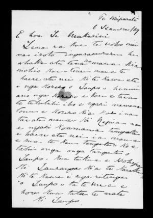 Letter from Paora Hapi, Hohepa Tamamutu to McLean