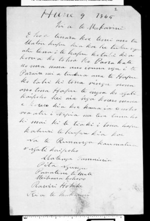 Letter from the runanga of Ngati Kaipoho, Matenga Tamaioria, Pita Ngungu and others to McLean