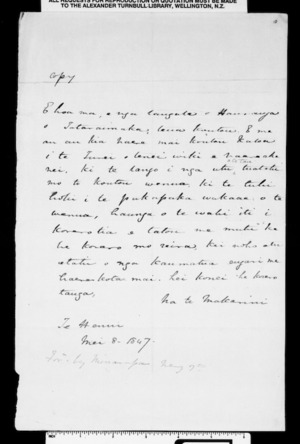 Letter from McLean to the people of Hauranga