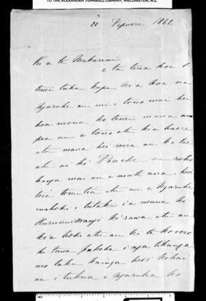 Letter from Wereta Kawekairangi to McLean