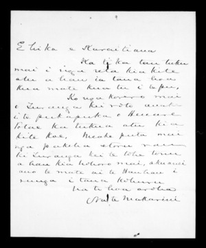 Undated letter from McLean to Karaitiana