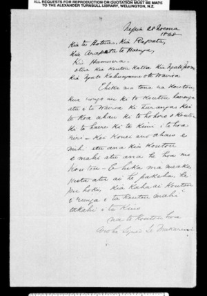 Letter from McLean to Te Hotene and others