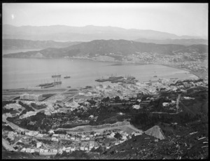 Wellington city and harbour, looking east from Tinakori Hill