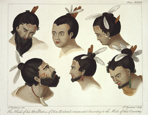 Parkinson, Sydney, 1745-1771 :The heads of six men natives of New Zealand, ornamented according to the mode of that country. S. Parkinson del. T Chambers sculp. London, 1784. Plate XXIII.