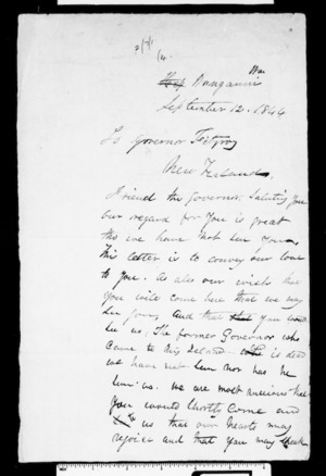 Letter from Wanganui chiefs to Fitzroy