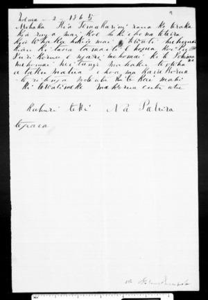 Letter from Pahira Te Paea to McLean