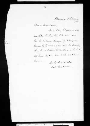 Draft of letter from McLean to Tawhiao