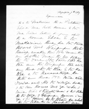 Letter from Aperahama Te Ao to McLean