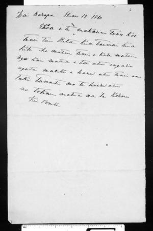 Letter from Te Koru to McLean
