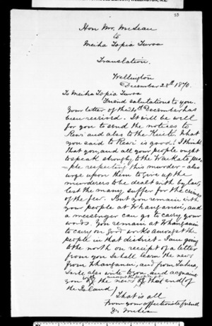 Letter from McLean to Topia Turoa (with translation)
