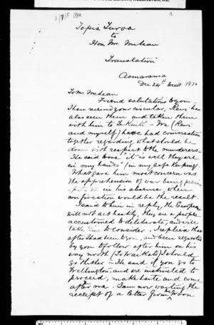Letter from Topia Turoa to McLean (translation)