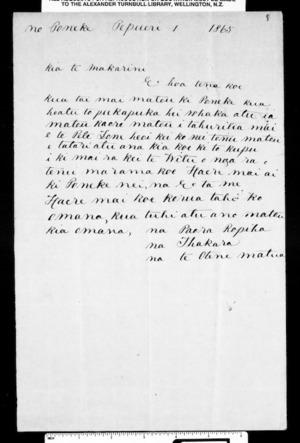 Letter from Paora Ropiha and Ihakara Te Otene to McLean