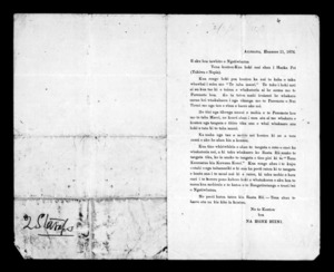 Letter from Hone Hiini to Ngati Whatua
