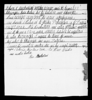Letter from Hone Waitere to McLean