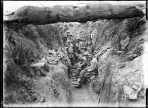 World War 1 New Zealand troops in a captured German trench near Gommecourt, France
