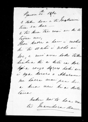 Letter from Te Manihera to McLean