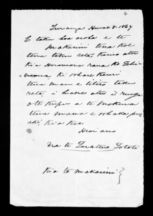 Letter from Paratene Turangi to McLean