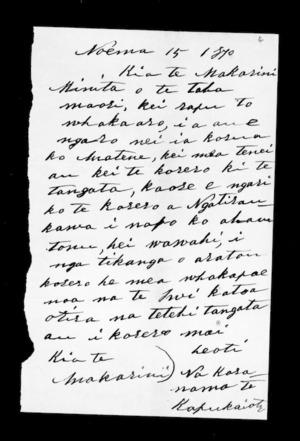 Letter from Karanama Te Kapukaiota to McLean