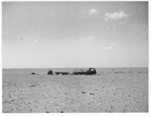 Wrecked truck on El Ruweisat Ridge, Egypt - Photograph taken by W Timmins