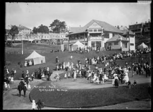 Crowd alongside Myers Kindergarten, Myers Park, Auckland