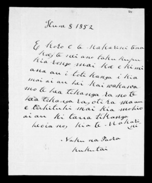 Letter from Paora Kukutai to McLean
