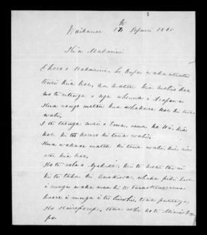 Letter from Wi Te Hono and Patihana Te Aratawhiti to McLean