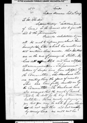 Letter from Poihipi Tukairangi and others to Rhodes (translation)
