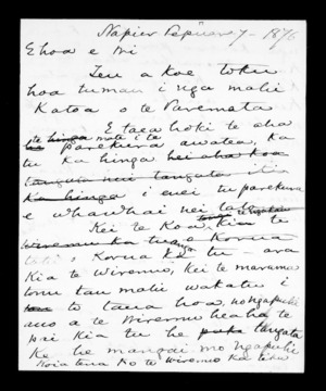 Letter from McLean to Wi Katene