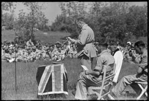General Freyberg reading at a New Zealand thanksgiving service in Italy after V-E day