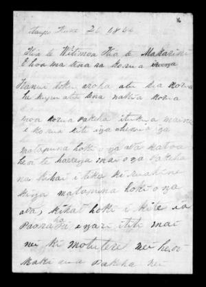 Letter from Muriwhenua Rangatira, Perahama Whetu to Whitmore and McLean