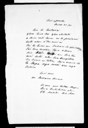 Letter from Kawana Hunia to McLean