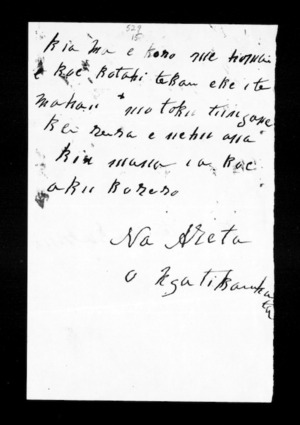 Undated letter from Areta (Ngati Kauwhata) to McLean
