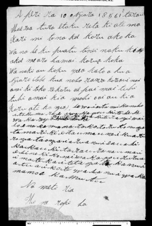 Letter from Hone Ropiha to McLean