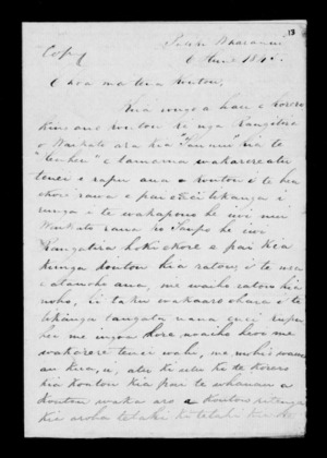 Letter from McLean to Whanganui Maori