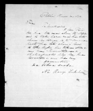 Letter from Rangi Tukehu to McLean