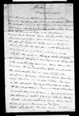 Letter from Karaitiana Takamoana to Henare Pukuatua and Pokiha