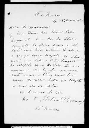 Letter from Hotene Porourangi to McLean (with translation)