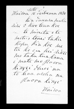 Letter from Paora Kingi to McLean