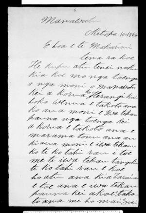 Letter from Ihakara Tokonui to McLean
