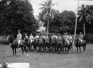 Captain Anderson and his gun crew on horseback in Samoa during WWI