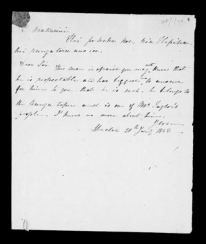 Letter to McLean from Hinetoa