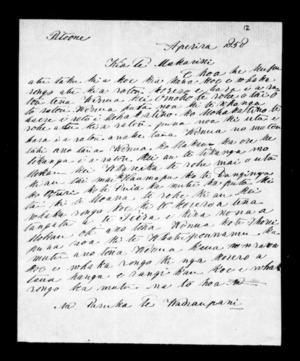 Letter from Paruka Te Wairaupani to McLean