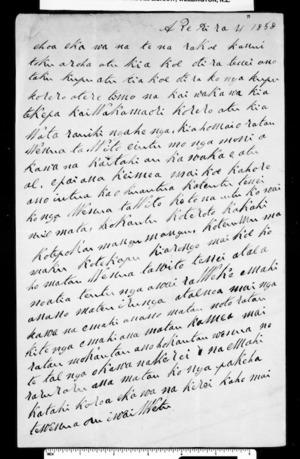 Letter from Wata Rauihi Ngahenga to McLean