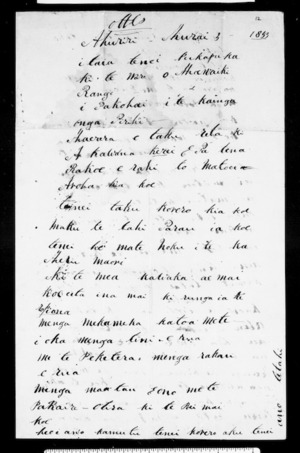 Letter from Hawaiki Rangi to George Grey (with translation)