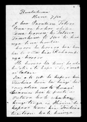 Letter from Te Anaru Matua to Paratene Titore