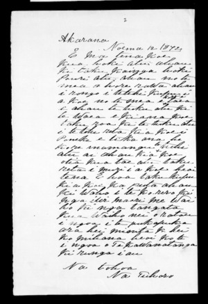 Letter from Tuhoro to McLean